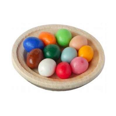 Teller mit bunten Eiern