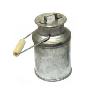 Milchkanne aus Zink klein mit Holzgriff